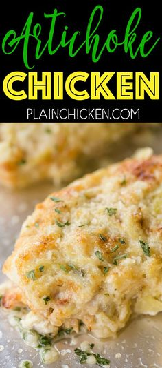 Artichoke Chicken - Only 6 ingredients - Chicken Italian dressing artichokes mayonnaise garlic parmesan cheese. Can assemble chicken earlier in the day and bake when ready. Everyone LOVED this! Turkey Dishes, Turkey Recipes, Meat Recipes, Cooking Recipes, Healthy Recipes, Recipies, Chicken Artichoke Recipes, Chicken Parmesan Recipes, Artichoke Ideas