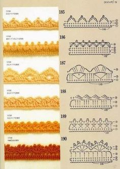 Pattern diagram for pretty crochet edging. Neat idea for dish-cloths, tea-towels, coasters and + Crochet Free Edging Patterns You Should KnowCrochet Beautiful Boarderscould Be PutAdd Borders to your blankets and afghans!Crochet Symbols a Crochet Boarders, Crochet Edging Patterns, Crochet Lace Edging, Crochet Diagram, Crochet Chart, Crochet Trim, Diy Crochet, Crochet Designs, Crochet Blanket Edging