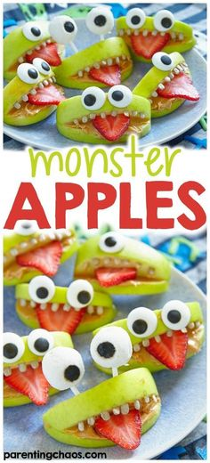 Halloween is a very fun time of year, especially for kids. If you love to enjoy the holiday, these halloween monster apples will be fun for everyone! halloween food and drink Halloween School Treats, Healthy Halloween Treats, Halloween Food For Party, Holiday Treats, Holiday Recipes, Halloween Halloween, Halloween Baking, Halloween Cupcakes, Women Halloween