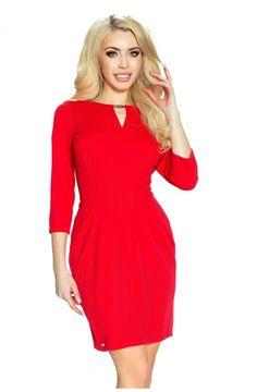 Ołówkowa Sukienka Czerwona BE29-02