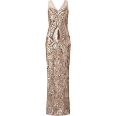 Adrianna Papell Sleeveless Sequin V-Neck Mermaid Dress, Rose Gold (€265) ❤ liked on Polyvore featuring dresses, gowns, fancy, mermaid gown, sequin maxi dress, sequin gown, long-sleeve mini dress and rose gold sequin dress