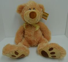 """Preferred Plush Teddy Bear Footsie Collection Brown Plaid Bow 17"""" NEW #PreferredPlush http://stores.ebay.com/Lost-Loves-Toy-Chest/_i.html?image2.x=18&image2.y=13&_nkw=kids+preferred"""