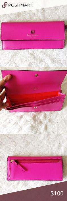 "Kate Spade envelope pink wallet authentic * excellent used condition * envelope style w/ button closure * 6.75""L x 3.65""H - slim size * 8 credit card slots w/ a roomy compartment & back zipper pocket ❌ no trades  ❣️offers welcome! kate spade Bags Wallets"