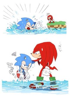 "I love how Sonic is like, ""I'm drowning! I'M DROWNING!! HELP ME!!!"" And Knuckles is like, ""Dude, stand up..."" XD"