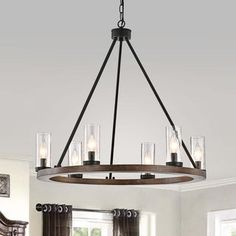 Shop for Daniela Natural Wood and Antique Black Metal Bubble Glass Chandelier. Get free delivery On EVERYTHING* Overstock - Your Online Ceiling Lighting Store! Buy Chandelier, Black Chandelier, Chandelier Lighting, Chandeliers, Wood And Metal Chandelier, Square Chandelier, Dinning Room Chandelier, Dining Room Ceiling Lights, Beach Lighting