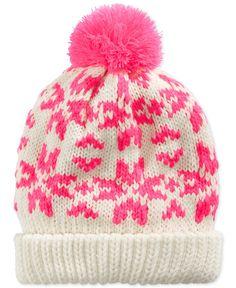 Osh Kosh Little Girls' Pom Pom Cuffed Hat