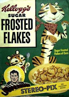 Sugar Frosted Flakes cereal c. 1952 Tony the Tiger
