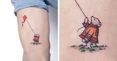 Specializing in simple tattoos, Ahmet Cambaz creates pieces inspired by illustration. His cute small tattoos often feature animals and use minimal colors. Whimsically delicious! Love the Pooh..and the landscape-type circle one
