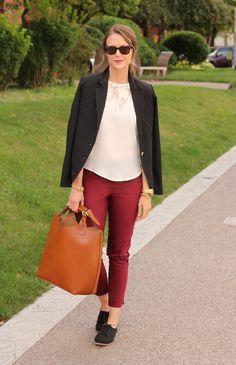 d763e84f6a8069  red slim pants (sz 8) + blazer + white top + black oxfords
