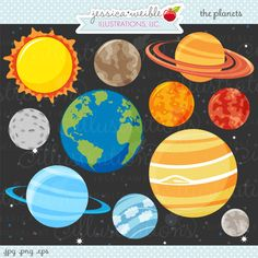 The Planets Cute Digital Clipart - Commercial Use OK - Space Clipart, Outer Space, Space Graphics, for space party invite Outer Space Theme, Outer Space Party, Space Planets, Clip Art, Cute Clipart, Space Crafts, Digital Stamps, Crafts For Kids, Illustration