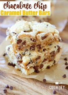 Chocolate Chip Caramel Butter Bars