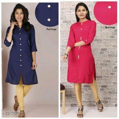 Checkout this latest Kurtis Product Name: *Women's Solid Rayon Kurti Combo* Fabric: Rayon Sleeve Length: Three-Quarter Sleeves Pattern: Solid Combo of: Combo of 2 Sizes: M (Bust Size: 38 in, Size Length: 40 in)  L (Bust Size: 40 in, Size Length: 40 in)  XL (Bust Size: 42 in, Size Length: 40 in)  XXL (Bust Size: 44 in, Size Length: 40 in)  Easy Returns Available In Case Of Any Issue   Catalog Rating: ★4.2 (598)  Catalog Name: Adrika Pretty Kurtis CatalogID_1152335 C74-SC1001 Code: 334-7217041-0111