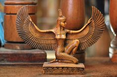 Authentic Golden Queen Isis Statue Gilded Ancient Egyptian Isis Statue The Goddess of Fertility H Egyptian Isis, Egyptian Mythology, Egyptian Goddess, Egyptian Symbols, Egyptian Art, Egyptian Queen, Goddess Names, Isis Goddess, Golden Goddess