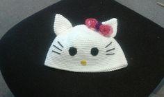 Baby Mütze Hello Kitty Chrochet, Beanie, Hats, Projects, Crochet Hooks, Ganchillo, Hat, Crocheting, Crochet