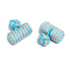 Pink & Light Blue Barrel Silk Knot Cufflinks