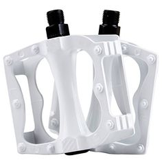 KUKOME BMX MTB Mountain Bike Pedals Flat Platform Bicycle Cycling Sealed Bearing Pedals SG1019 White ** Details can be found by clicking on the image.