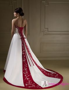 2016 Exquisite Sweetheart Red And White Wedding Dresses A Line Luxury Wedding Dress With Color Embroidery Vintage Blue Satin Wedding Gowns Red Wedding Dresses, Luxury Wedding Dress, Wedding Dress Styles, Bridal Dresses, Blue Wedding, Red White Wedding Dress, Wedding Veil, Wedding Gowns, Red And White Weddings
