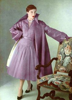 1950 Bettina in pleated mauve tulle dress worn with same shade satin coat, by Robert Piguet