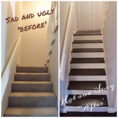 Nice Staircase Makeover From Carpet To Hardwood | Carpets, Staircases And  Staircase Makeover