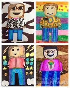 Exploring Art: Elementary Art: 5th Grade Lego Self Portraits - used shapes as initial drawing (round edged square, trapezoid etc) and then looked at shading.