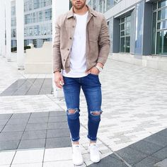 Suede jacket ripped jeans and white #sneakers by @aligordon89 [ http://ift.tt/1f8LY65 ]
