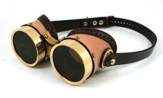 Steampunk Brass Goggles tan interchangable lenses by AmbassadorMann