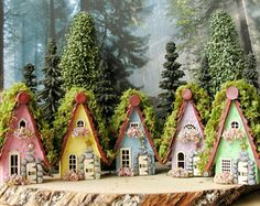 The Fairy Houses of Mossy Lane - Handcrafted Chalet Style Cottage in Raspberry Pink w/ Moss Covered Roof, Flower Boxes and Wooden Door Fairy Village, Chalet Style, Fairy Garden Houses, Fairy Gardens, House Ideas, Fairy Doors, Blooming Flowers, Fairy Land, Flower Boxes