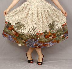 Bavarian Village Skirt / Dirndl Skirt with Novelty by CuriousKnopf, €32.00
