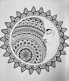 Luna y el Sol (dibujo mío) #tatuaje #Zentangleart #moon
