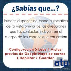 """Hoy os dejamos un nuevo """"tip"""" para vuestro correo en #Gmail.   Consiste en activar la vista previa de Google Maps, de tal forma que cuando recibáis un correo que incluya una dirección postal, se os mostrará automáticamente la ubicación a través de Google Maps.   Útil, ¿no?"""