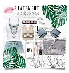 """statement necklaces summer"" by classyxgirl ❤ liked on Polyvore featuring WearAll, T By Alexander Wang, Proenza Schouler, Retrò, Donna Karan, MAC Cosmetics, Trish McEvoy, Lucky Brand and statementnecklaces"