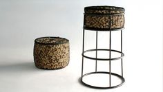 "surplus-mag: "" Life After Corkage Stool This company takes 2,500 wine and champagne corks and makes them into bar stools for your home. The corks are enclosed in a see-through mesh fabric, so you can scope out the history and individuality of each. """