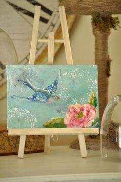 flight and flower orignal mixed media painting jennifer rizzo