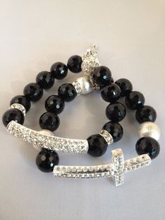 Black Onyx & Silver Beaded Cross Bracelet by staceywiley on Etsy, $45.00