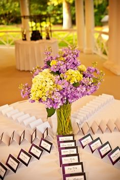 Purple Escort Card Table. This set-up works if guests can walk up to the table from all sides.