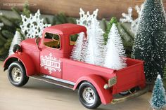 Creating Vintage Inspired Christmas Decor is easy to do with a few simple vintage inspired items and classic colors. Christmas Booth, Christmas Red Truck, 1st Christmas, Vintage Christmas, Christmas Ideas, Unique Christmas Decorations, Vintage Toys, Vintage Trucks, Toy Trucks