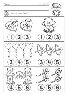 Valentine's Day Math & Literacy Worksheets & Activities No Prep. Count how many. Valentine's Day Math & Literacy Worksheets & Activities No Prep. Count how many.