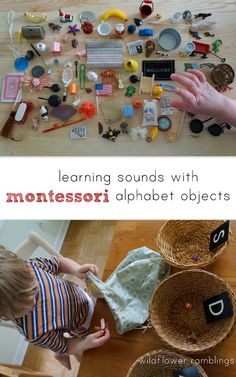 learning sounds with montessori alphabet objects {plus giveaway of complete 100 object set! Montessori Preschool, Montessori Education, Kindergarten Literacy, Early Literacy, Preschool Learning, Early Learning, Baby Education, Learning Games, Montessori Elementary