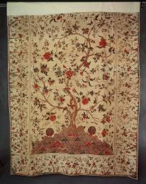A8201 Palampore or bed hanging, 'Tree of Life', cotton calico, mordant painted and dyed kalamkari (pen work), Palakollu, Andhra Pradesh, Coromandel Coast, India, 1740-1780 - Powerhouse Museum Collection
