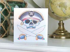 Pirate sugar skull tattoo handmade card
