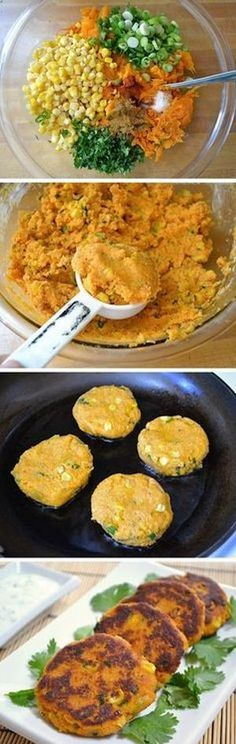 Sweet Potato Corn Cakes with Garlic Dipping Sauce ~ Idea to try: use skins, blend in food processor, vegan eggs or no eggs and bake. These sweet potato corn cakes are so good that I am sure you will love them as much as I do. Veggie Recipes, Vegetarian Recipes, Cooking Recipes, Healthy Recipes, Clean Recipes, Frozen Corn Recipes, Burger Recipes, Raw Food Recipes, Diet Recipes