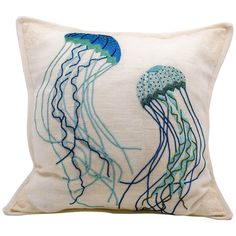 Beautiful linen jellyfish pillow embroidered in India. This is one in a series of additional pillows which all have a sea theme (Photo). Japanese Embroidery, Modern Embroidery, Diy Embroidery, Machine Embroidery, Beginner Embroidery, Embroidery Stitches Tutorial, Hand Embroidery Patterns, Embroidery Designs, Medusa