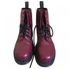 Burgundy Leather Boots DR. MARTENS ($96) ❤ liked on Polyvore featuring shoes, boots, burgundy leather boots, burgundy boots, genuine leather boots, leather shoes and dr martens footwear