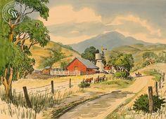 Frank Serratoni - Farm with Horses, California art, original California watercolor art for sale, fine art print for sale, giclee watercolor print - CaliforniaWatercolor.com