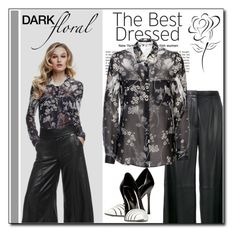"""Dark Florals 2"" by court8434 ❤ liked on Polyvore featuring GUESS, ADAM, Sergio Rossi and darkflorals"