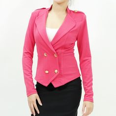 Sailor inspired button front long sleeve ponte jacket pink