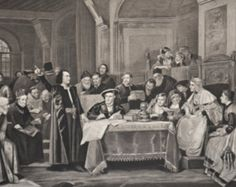 Featured listing image: Antique Photogravure of original 1884 painting, Christopher Columbus at the Court of Ferdinand and Isabella, by artist, Vacslav Brozik