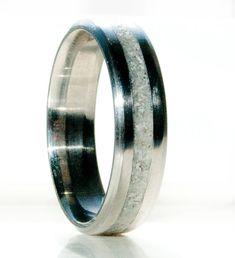Mens Hochzeit Band Elch Geweih Inlay Ehering von StagHeadDesigns