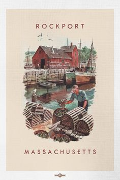 Vintage Rockport Massachusetts Harbor Travel by BuchananPaperArt Grand Teton National Park, Yellowstone National Park, Rockport Massachusetts, Historic New England, San Francisco Travel, Vintage Fonts, Watercolor Sketch, Vintage Travel Posters, Oh The Places You'll Go