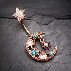 Rose Gold Celestial Opal Moon Star Belly Button Ring